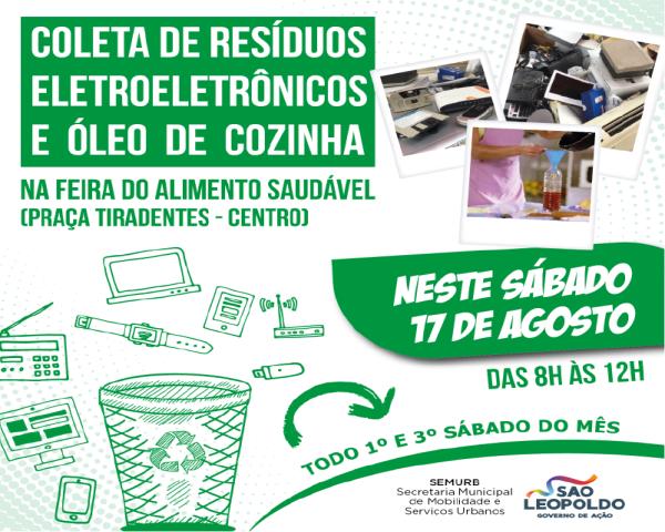 Sábado é dia de coleta de lixo eletrônico e óleo de cozinha