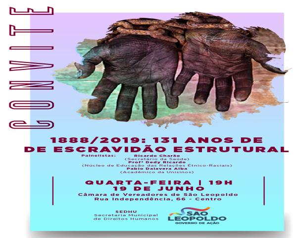 Escravidão estrutural será tema de evento nesta quarta-feira