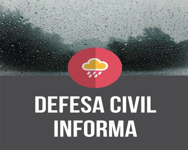 Defesa Civil alerta para chuvas e temporais no final de semana